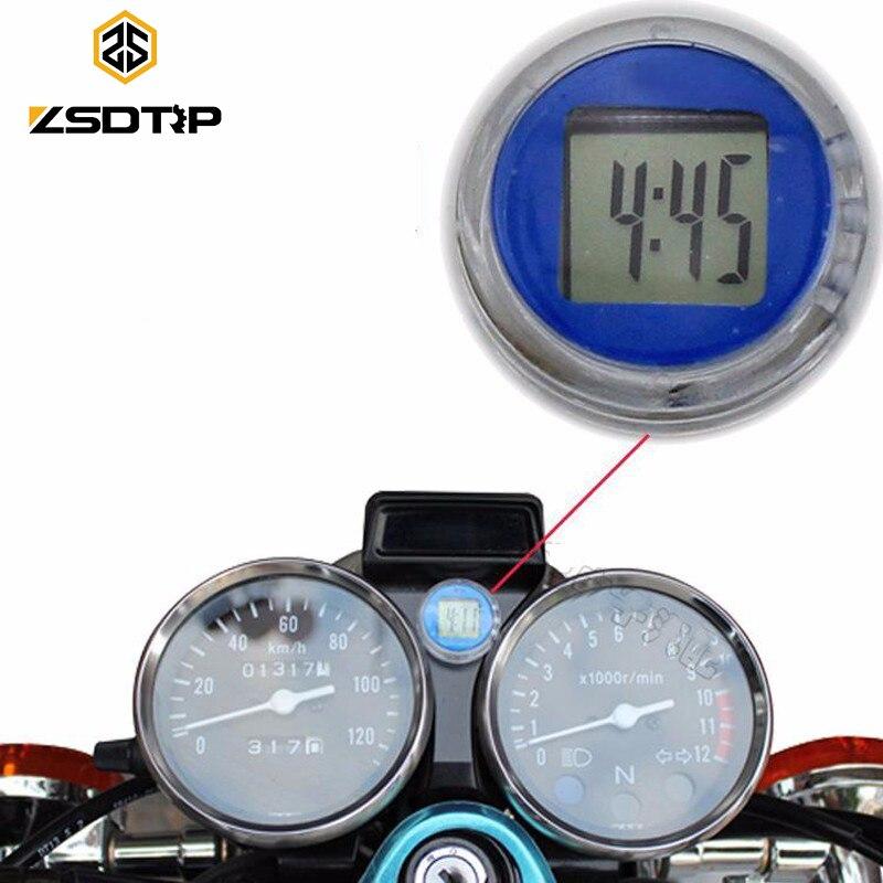 ZSDTRP reloj con forma de motocicleta reloj impermeable Stick-en el coche moto luminoso Digital del reloj de tiempo Pantalla de temperatura