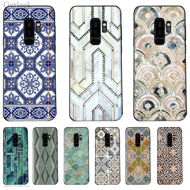 Phone Case Morocco Art Deco Tile Map Diamond Scales For Samsung Galaxy A3 S6 S7 Edge S8 S9 Plus 2016 2017