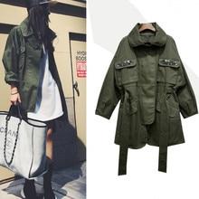 2020 Spring fashion Trench Coat turn down collar slim Waist loose cool safari style women casual long sleeve coat