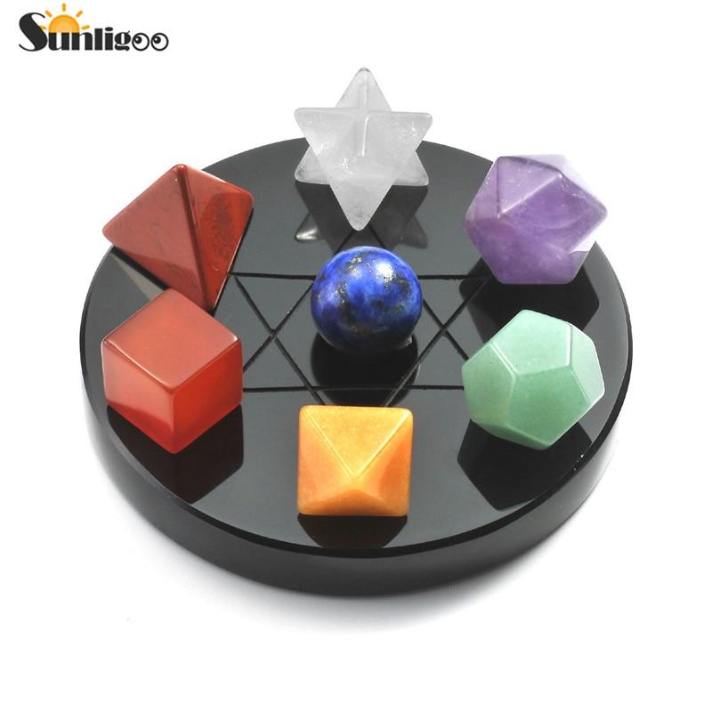 Sunligoo Mini 7 Chakra Crystal Plantonic Solids Geometry Black Obsidian Stand Polishing Tumbled Reiki Healing Natural Stones Set