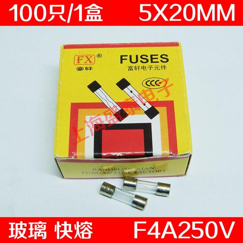 F4AL250V Glass Insurance Tube F4A250V F4A Fuse 4A 5X20MM 100  PCS