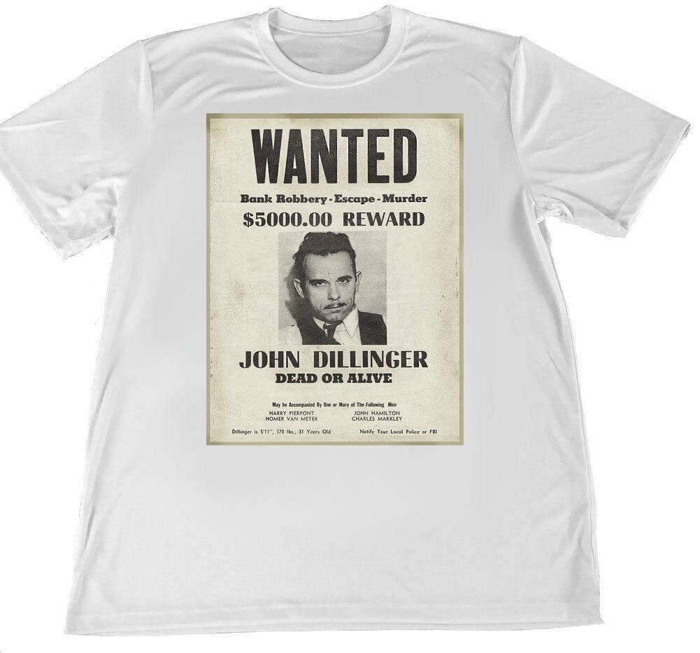 John Dillinger Cartaz de Procurado Wicking Camiseta w Coaster Carro Mangas Curtas Nova Moda Da Bandeira Americana T-Shirt Dos Homens de Roupas