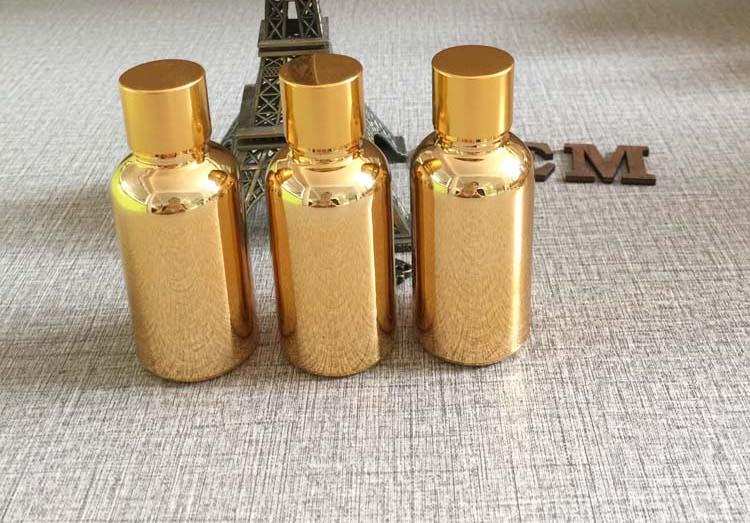 30 ml de óleo de vidro vazio recipientes de armazenamento de cosméticos de maquiagem 1 onça de ouro embalagem