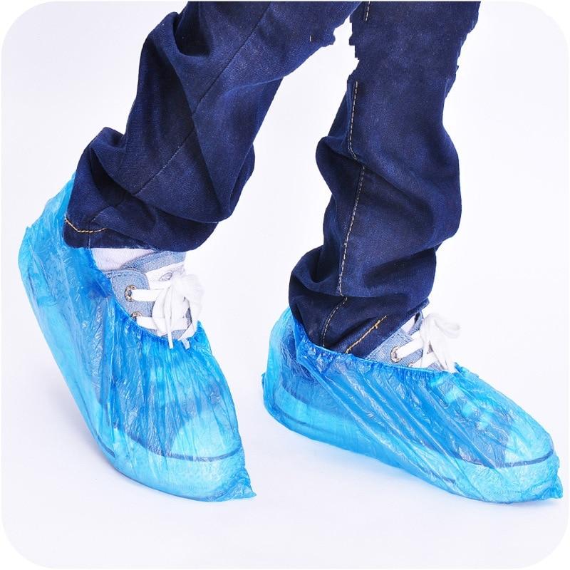 100 unids/pack nuevo elástico desechable de plástico protector de zapatos cubre alfombra limpieza Overshoe