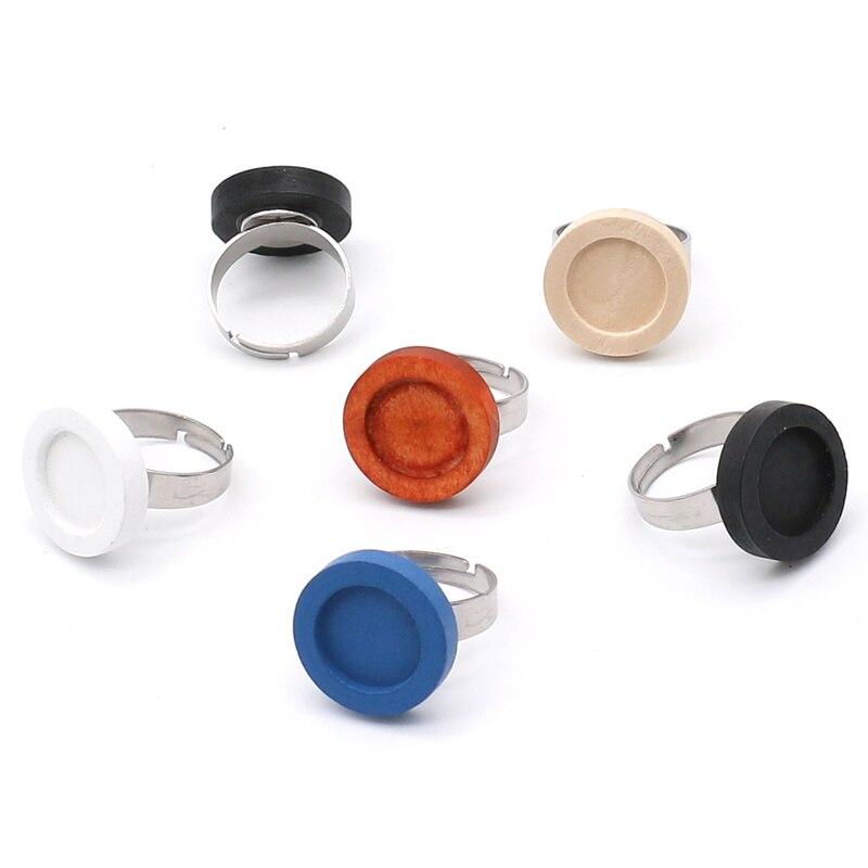 10 teile/los edelstahl Einstellbare Holz Cabochon Ring Basis Fit 12mm Diy Blank Bezel Einstellungen Erkenntnisse für Schmuck Machen