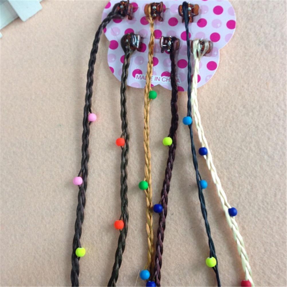 6 uds coloridos dibujos animados niños niñas Clip de Pelo elástico peluca Tiara lazo de goma lazos de pelo accesorios con decoración peluca 4 estilos