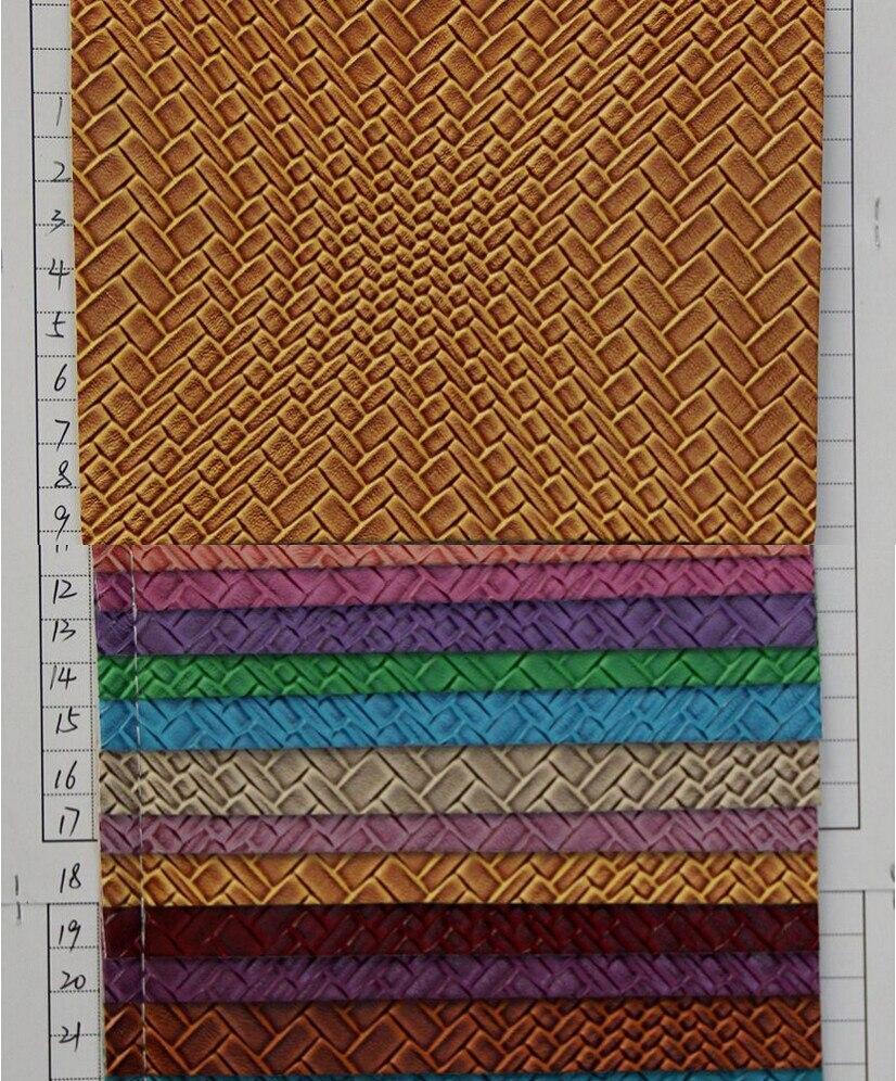 Fabricantes baratos, venta al por mayor, cuero semi PU, patrón de tejido de color transparente, Tela de cuero de imitación, envío gratis