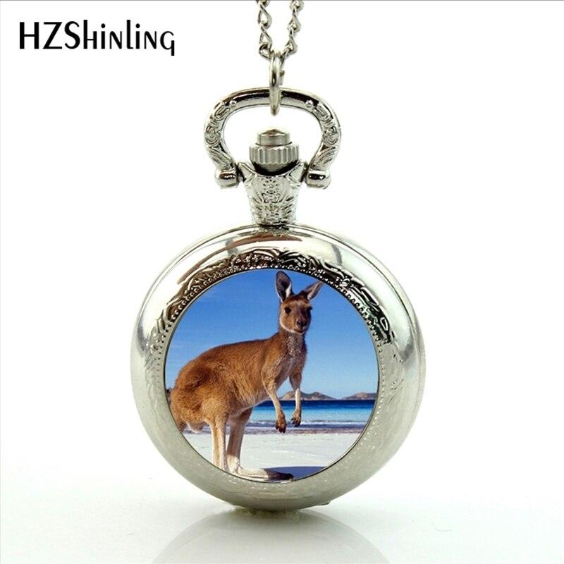 2017 New Arrival Kangaroo Pocket Watch Handmade Glass Dome Animal Memorial Necklaces Locket Pocket Watch Jewelry