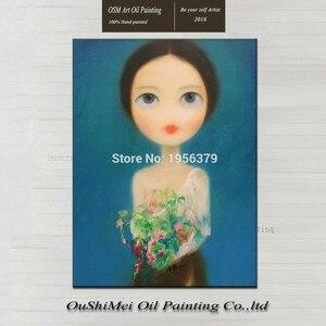 Ручная роспись Современная красивая девушка с длинными волосами Портрет рисунок ручная работа настенная живопись цветок в руке девушка хо...