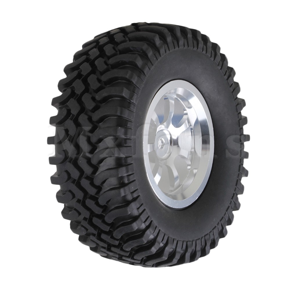 Mxfans 4 x RC1:10 Rock Crawler Black Alloy 7 Spoke Wheel Rim + Simulation Rubber Tyre enlarge