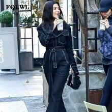 FQLWL Sexy Denim combinaison femmes barboteuse à manches longues ceinture noir/blanc hiver automne jean combinaison femme 2018 Streetwear salopette
