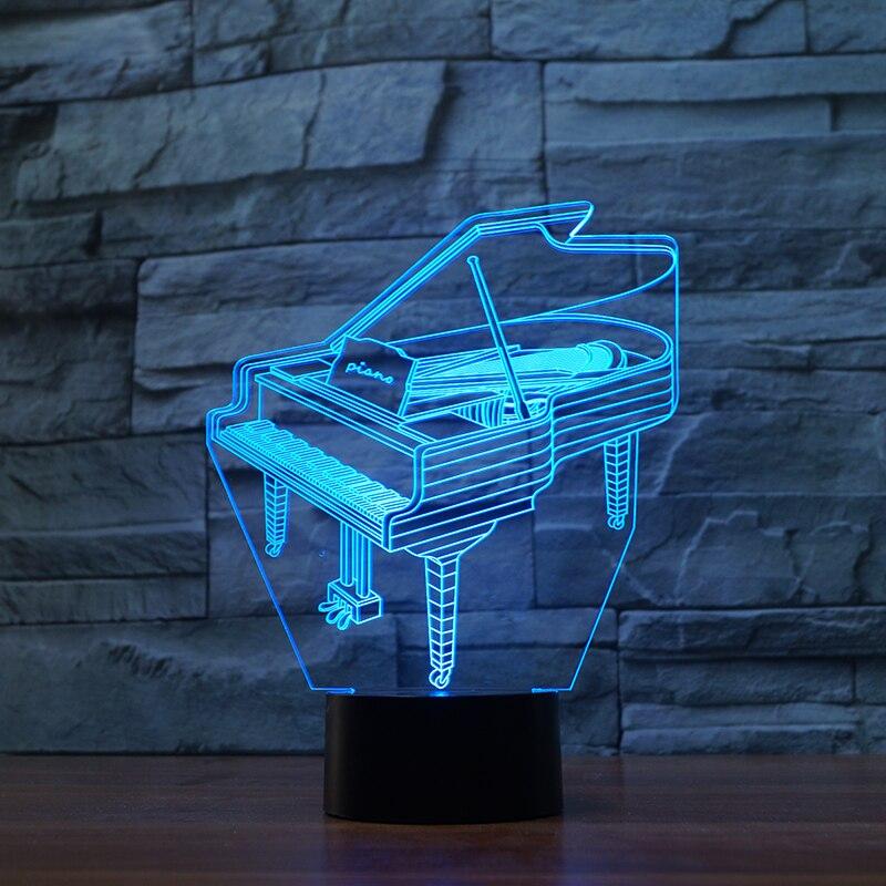 Piano 7 colores cambiantes ilusión 3d lámpara de noche