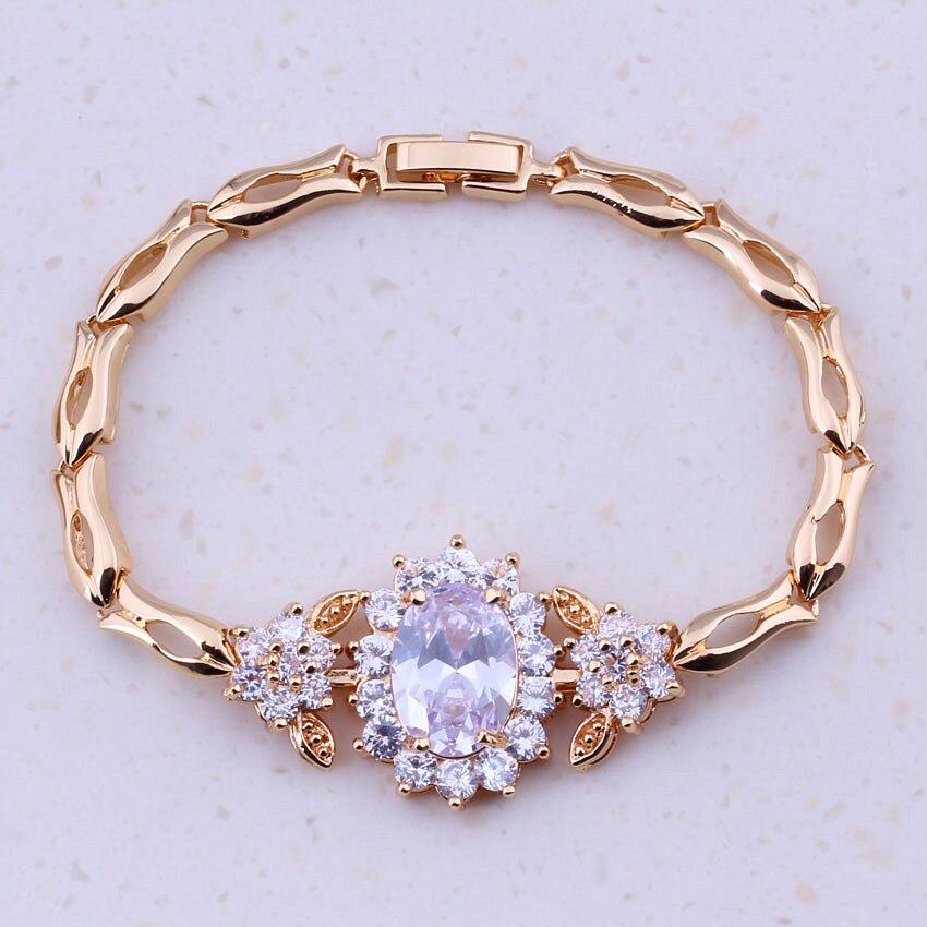 Блестящие белые кубические циркониевые цвета желтого золота ААА модные ювелирные изделия дешевые браслеты с подвесками для женщин для Вечерние Бесплатная подарочная коробка I0251