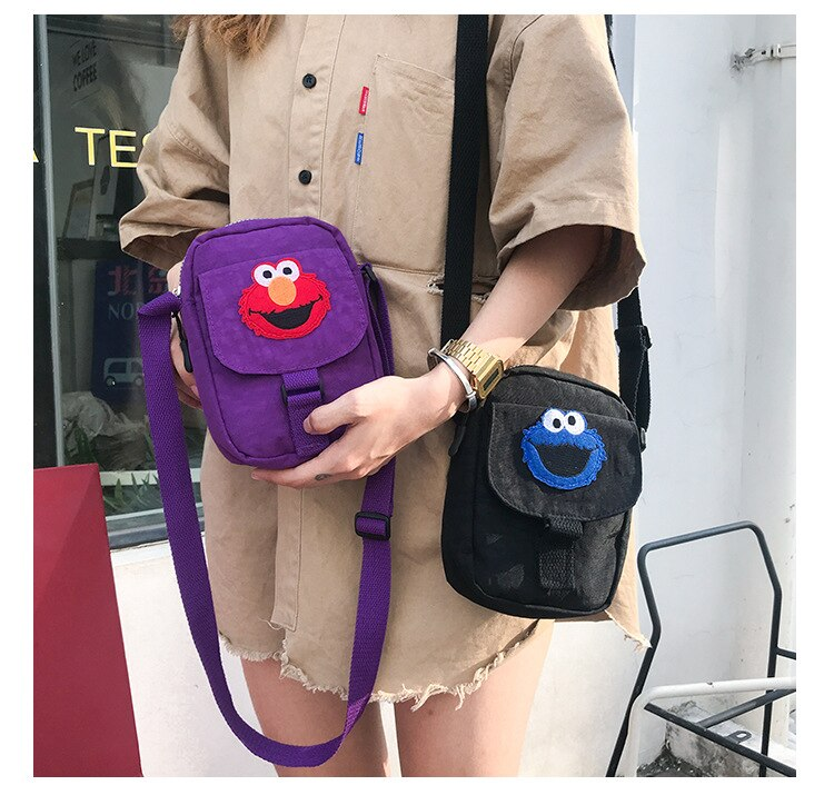 Sesame Street ELMO cookie Monster Canvas Messenger Shoulder Crossbody bag Cell Phone Pocket Cute Cartoon Purse for kid Girl