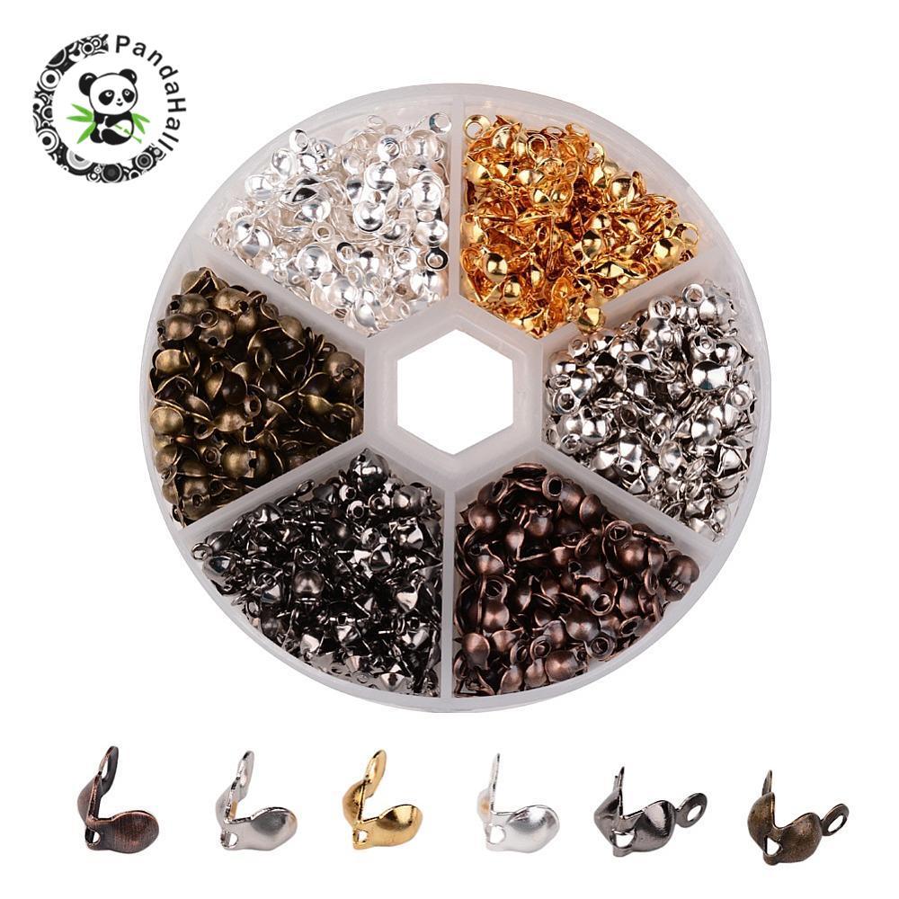 1 caja de puntas de cuenta de hierro de Color mezclado, fundas con nudo 8x4mm, fabricación de joyas sin níquel, 6 colores, agujero de las cuentas finales 1,5mm; 3mm de diámetro interno