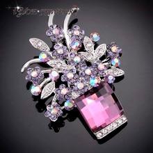 IYOE Retro Style Dark Crystal Flower Brooches For Women Fashion Brand Vintage Brooch Pendant Dress Accessories
