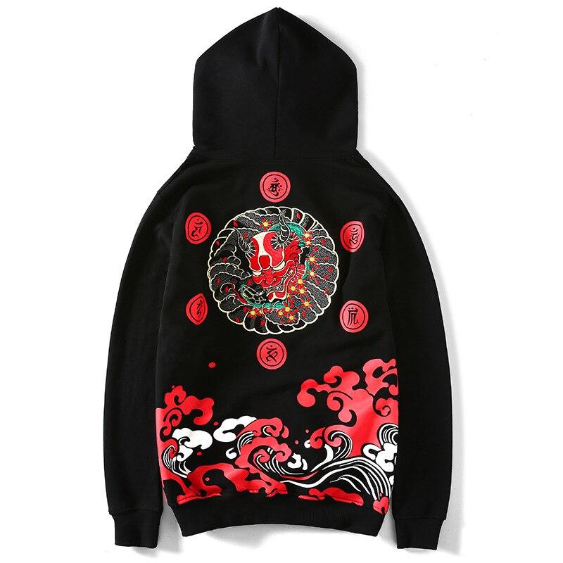Felpa con cappuccio Da Uomo 100 Cotone di Stile Giapponese Harajuku Steetwear Gotico Ricamo Satana Cranio Felpa Palestra Hoody Giappone Felpe Mens