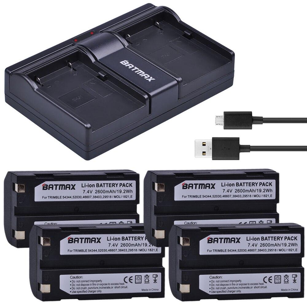 4 Uds 7,4 V 2600mAh batería + cargador USB Dual para Trimble 54344 batería Trimble TR-R8 Trimble 5700 de 5800 MT1000... R7... R8 receptor GPS