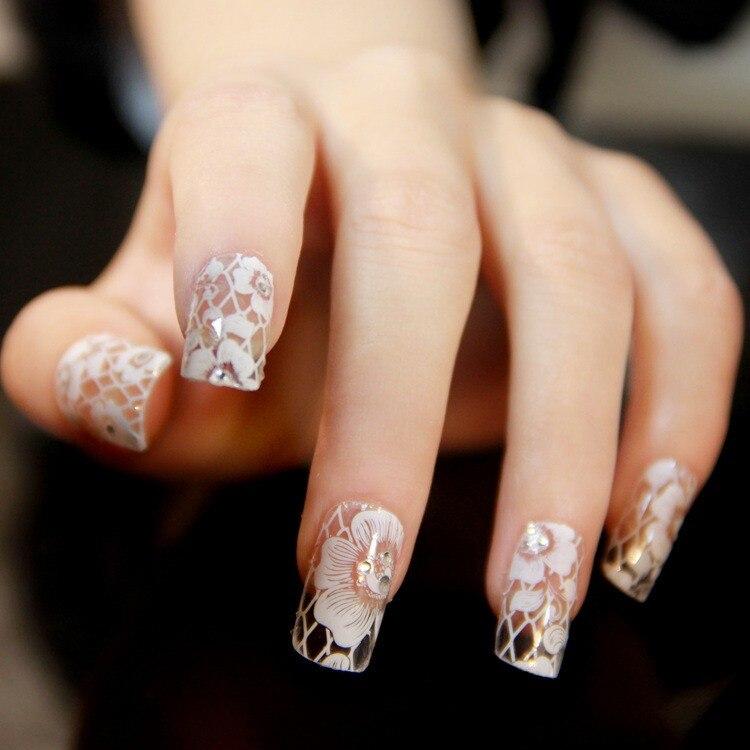5 unids/lote decoraciones de uñas de moda taladro de encaje blanco 12 patrón/hoja hermosa pegatina y pegatina DIY herramientas de belleza de Arte de uñas