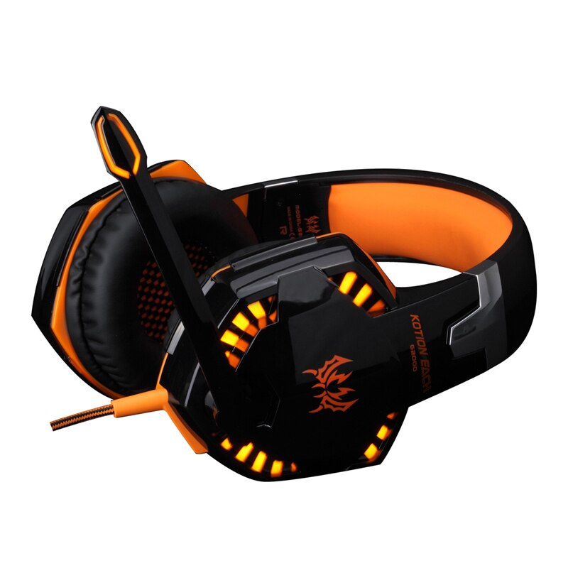 Auriculares de juego profesionales KOTION cada G2000 Diadema con micrófono estéreo buen bajo luz LED para juego de PC