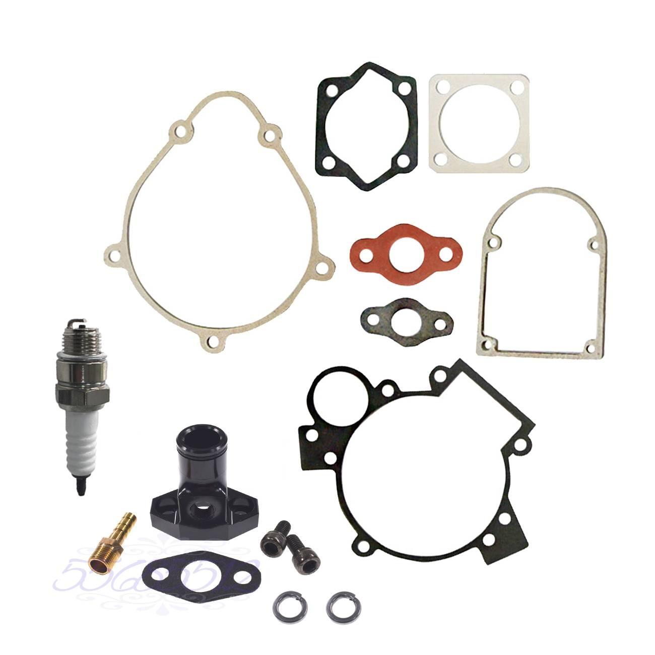 Colector De Admissão & Junta Kit CNC Preto & Spark plug Para 80cc Bicicleta Motorizada