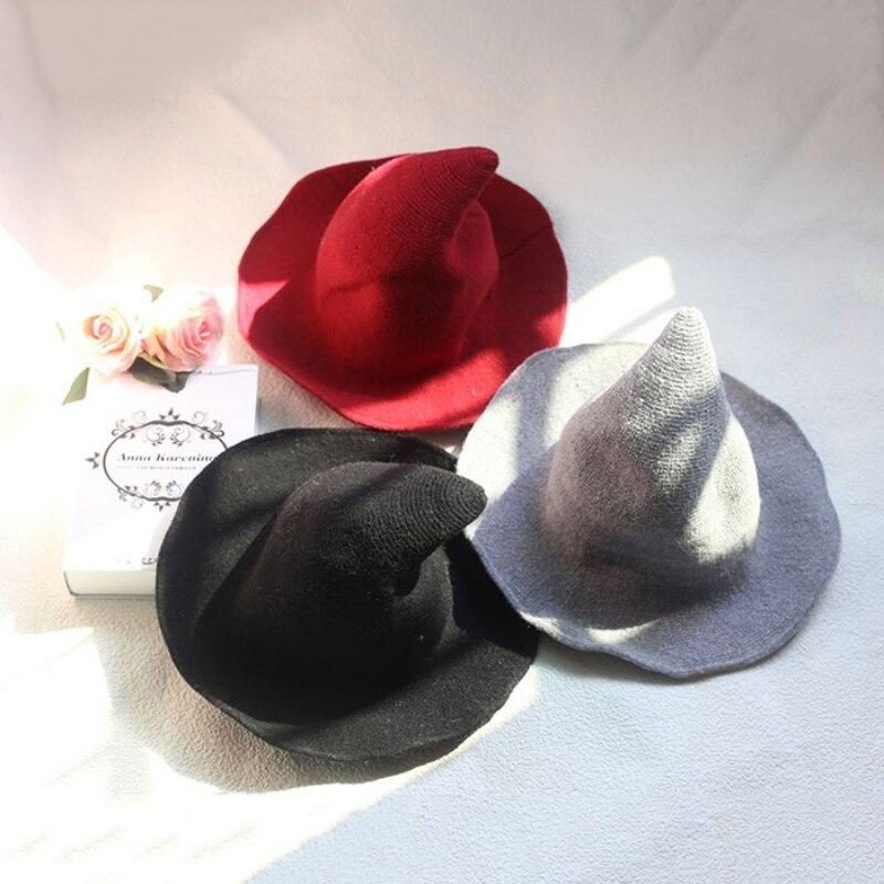 1 pieza moderna gorro de bruja Halloween lana de señora de las mujeres de moda de lana de oveja sombrero para fiesta de Halloween
