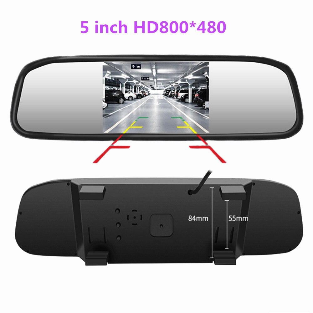 5 pulgadas TFT LCD HD800 * 480 pantalla Monitor coche espejo Monitor para estacionar marcha atrás con 2 entrada de vídeo retrovisor Cámara opcional