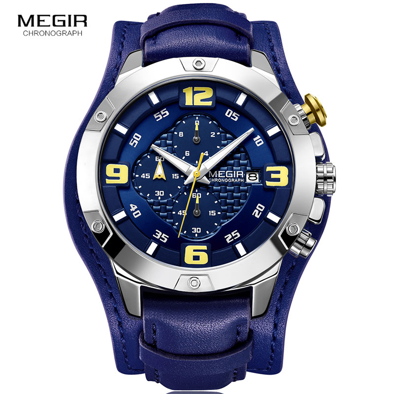 MEGIR Men's Chronograph Quartz Watches 2019 New 3 Bar Waterproof Leather Strap Luminous Army Sports Stopwatch for Man 2099 Blue