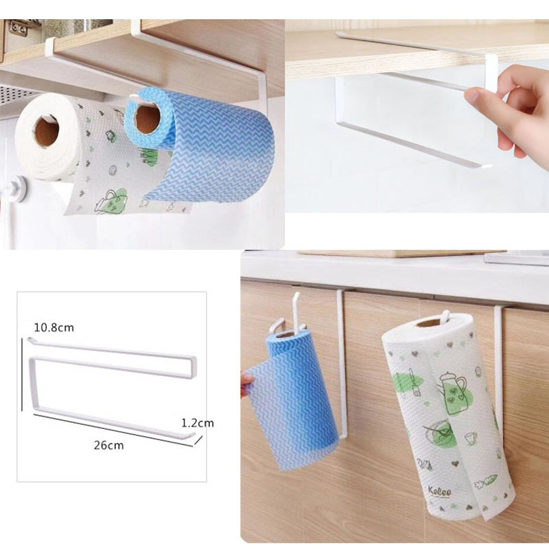 Ferro titular do tecido da cozinha pendurado banheiro rolo de papel higiênico suporte de toalha rack de cozinha armário porta gancho titular organizador