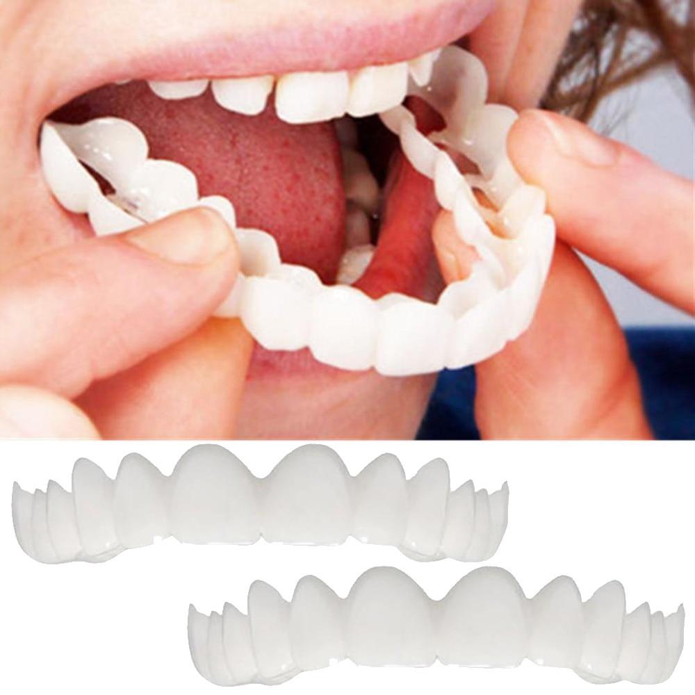 2 uds. Tirantes de simulación para dentadura instantánea, mantienen la sonrisa cómoda y se ajusta a los dientes flexibles, cosmética, revestimiento cosmético para dentaduras