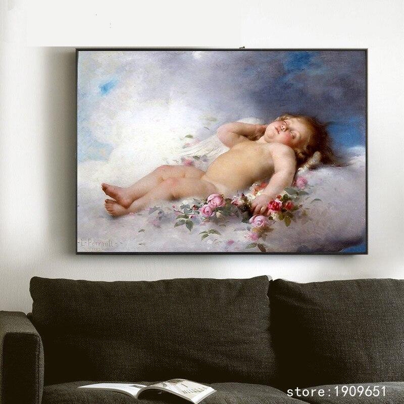 Sin marco clásica figuras religiosas dormir Ángel Bebé lona impresiones pintura de aceite impreso en algodón arte cuadro decorativo