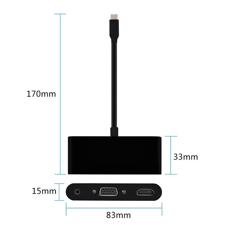 USB 3.1 Type C to HDMI (4K*2K) VGA 3.5mm Aduio Video Converter USB3.0 HUB Adapter Display Dock Extender HD 4K for MACBook Pro enlarge