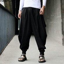 INCERUN mężczyźni Harem workowate spodnie mężczyźni Hakama płótno na co dzień szerokie nogawki spodnie męskie japoński spodnie męskie spodnie krzyżowe spodnie krocza 5XL