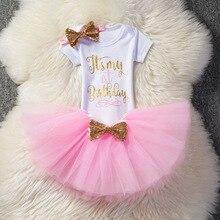 Girl Fancy Tutu Sets For Girls Infant 1st/2nd Birthday Letter Print Outfits White Bodysuit+Tutu Skirt+Headband 3pcs Lovely Suit