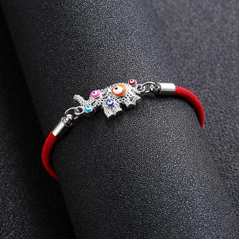 Bohemian child baby kid charm bracelet colorful eyes animal elephant Hamsa evil eye lucky red rope bracelet