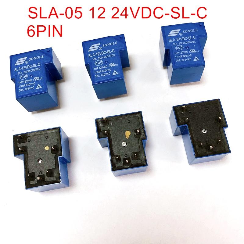 6Pin Relés de Potencia 05V 12V 24V T90 Songle de SLA-05V 12V 24VDC-SL-C 6PIN 30A 5 uds