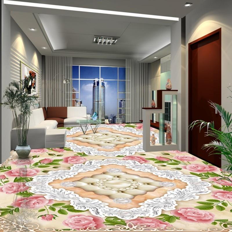 Free Shipping European-style stone pattern jade flooring wallpaper kitchen self-adhesive office wear floor mural