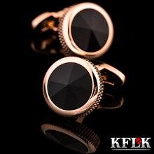 2020 gemelos de camisa lujosa kflk para hombre, regalo de marca, botón para puños de cristal, gemelos dorados de alta calidad, joyería abotoadura