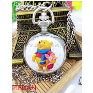 Reloj de bolsillo de cuarzo animado de buena calidad Winnie the Poo h Teenie Weenie, collar de moda para mujer y Chica a bajo precio al por mayor