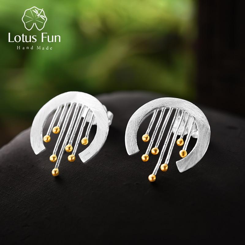 Lotus Fun Plata de Ley 925 auténtica joyería fina hecha a mano elemento Oriental Vintage cortina Stud pendientes accesorios para las mujeres