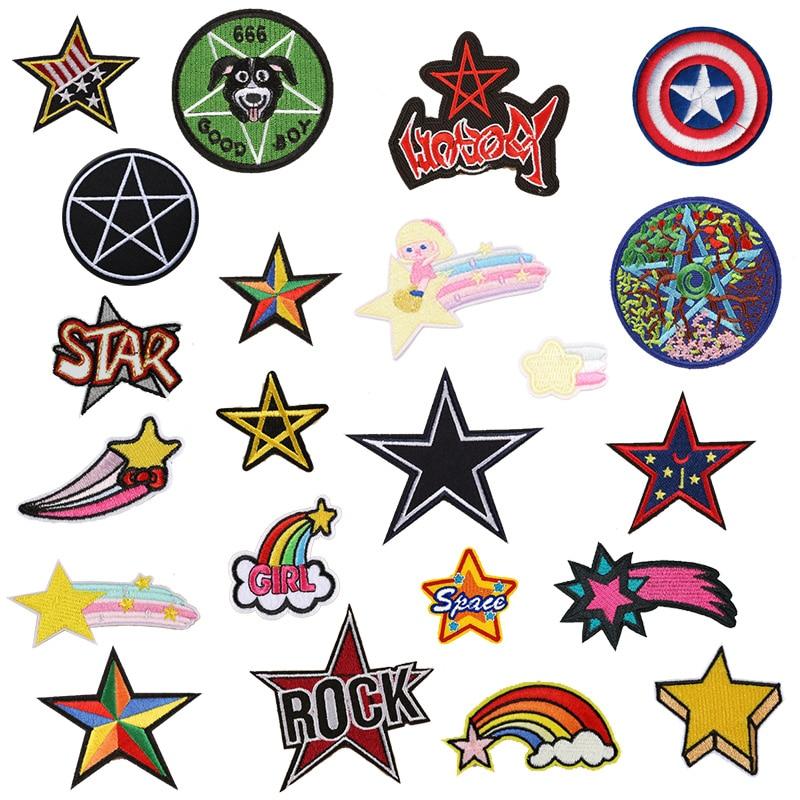 Patch mixte Star pour vêtements, 1 pièce, pour le fer à repasser sur les vêtements brodés et cousus, Badge en tissu mignon, accessoires pour vêtements de bricolage