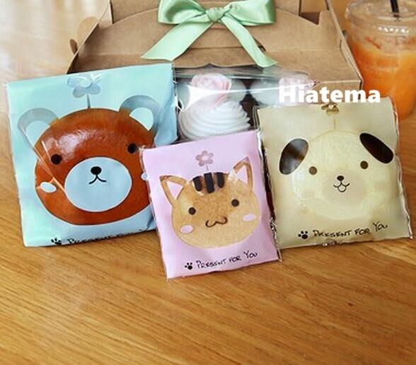 Lindo Animal de impresión oso de peluche gato perro embalaje plano bolsas de regalo comida pan fiesta postre Paquete de bocadillos de Chocolate