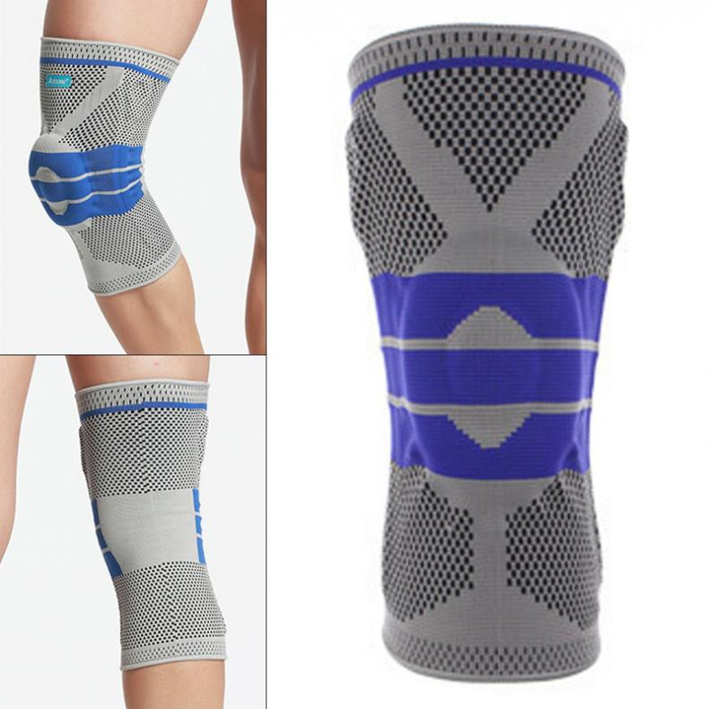 1PCS Weaving Silicone Knee Pads Supports Brace Volleyball Basketball Patella Protectors Sports Safety Kneepads Knee Pad