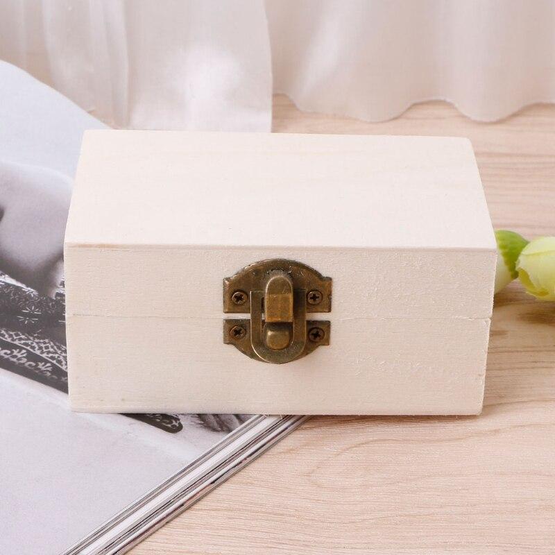 NEW Brief Wooden Jewelry Box Lock Up Makeup Organizer Tray Crafts Storage Case Organizador Make Up Jewelry Box organizer