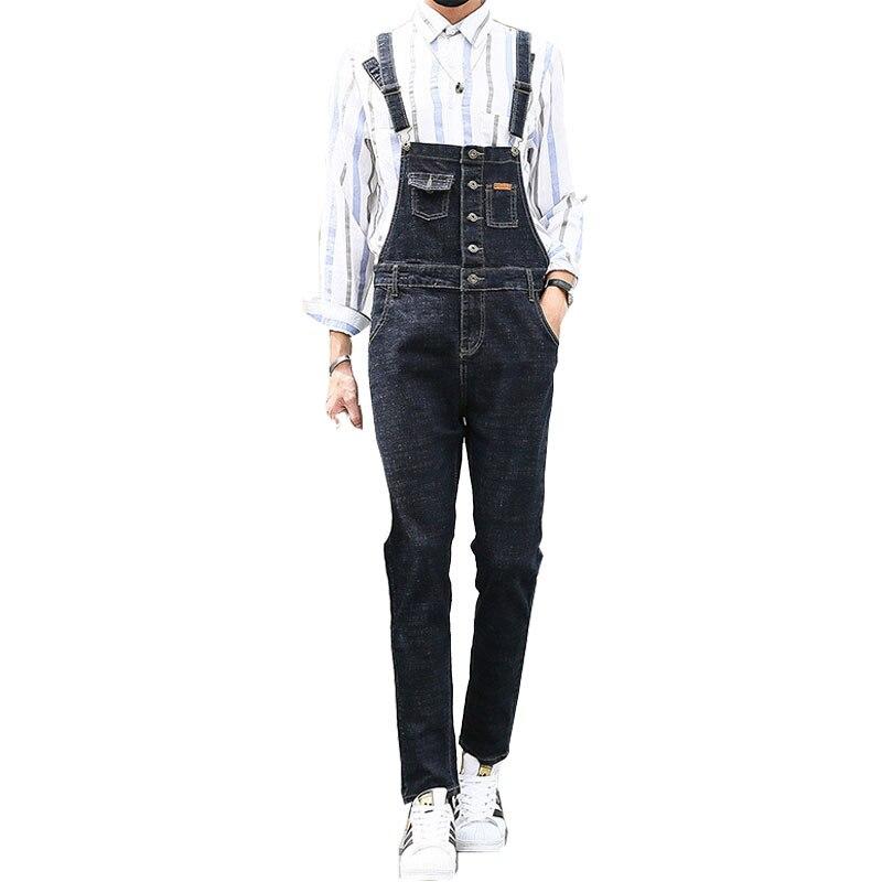 2019 moda Pantalones vaqueros de hombre explosivos coreano de mezclilla babero para hombre ropa de trabajo japonesa mono joven delgado hombre/hombre Sling pantalones de mezclilla