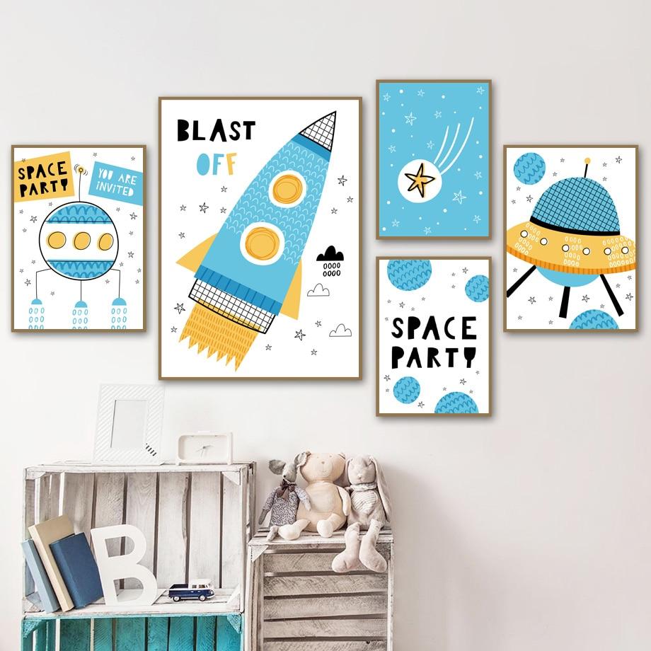 Espacio de dibujos animados cohete UFO universo planeta cuadro sobre lienzo para pared carteles nórdicos e impresiones imágenes de pared bebé niños decoración de la habitación
