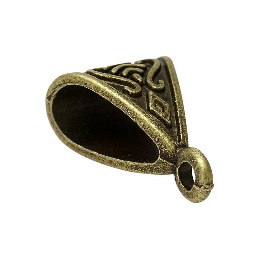 """Bolas de aleación de metal Zinc, patrón de bronce antiguo triángulo de cuentas 15mm (5/8 """") x 10,5mm (3/8""""), 15 Uds"""