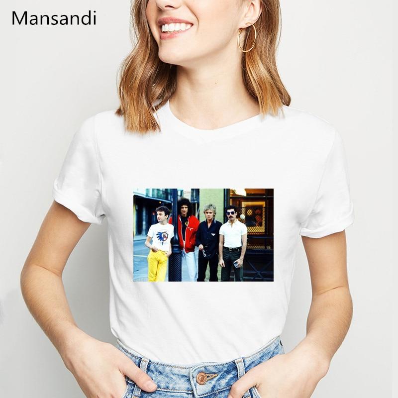 Vintage Freddie Mercury camiseta ropa de mujer 2019 la reina banda camiseta femme harajuku camisa tumblr tops camiseta femenina camiseta