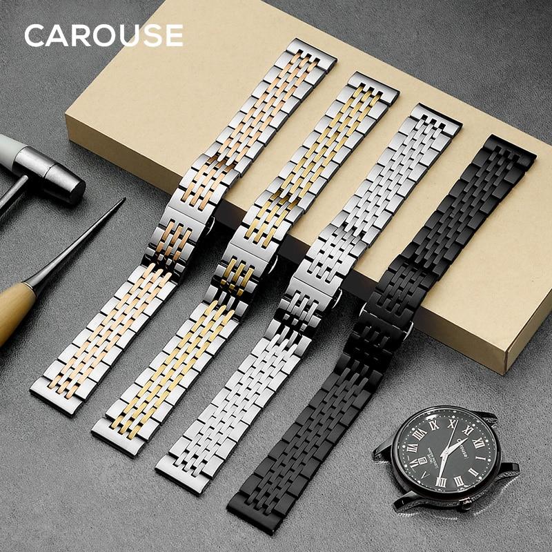 Металлический ремешок для часов Carouse, браслет из нержавеющей стали 12 мм 14 мм 16 мм 18 мм 20 мм 22 мм, ремешок для часов, черный, серебристый, розовы...