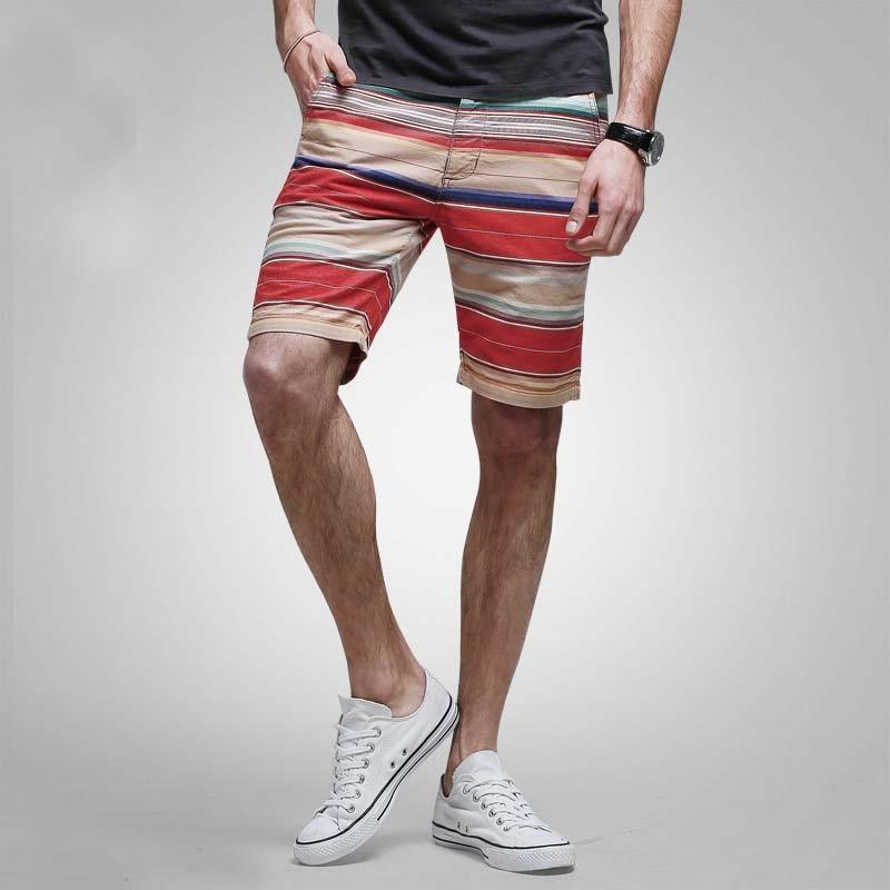 Mens Shorts Cotton Stripped Casual Beach Shorts Board Beachwear Big Size Straight Cargo Shorts